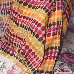 31 direction dot scarf pink red yellow brown